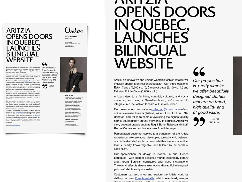 Aritzia Press Release Template - Jenny Kim Creative